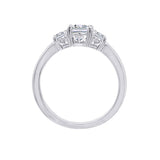 GEMOUR Sterling Silver 2 ct Princess Cut Cubic Zirconia 3-Stone Ring - GEMOUR