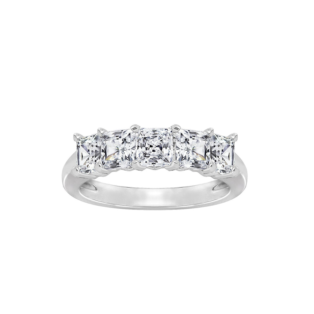 GEMOUR Sterling Silver 2 ct Princess Cut Cubic Zirconia 5-Stone Ring - GEMOUR