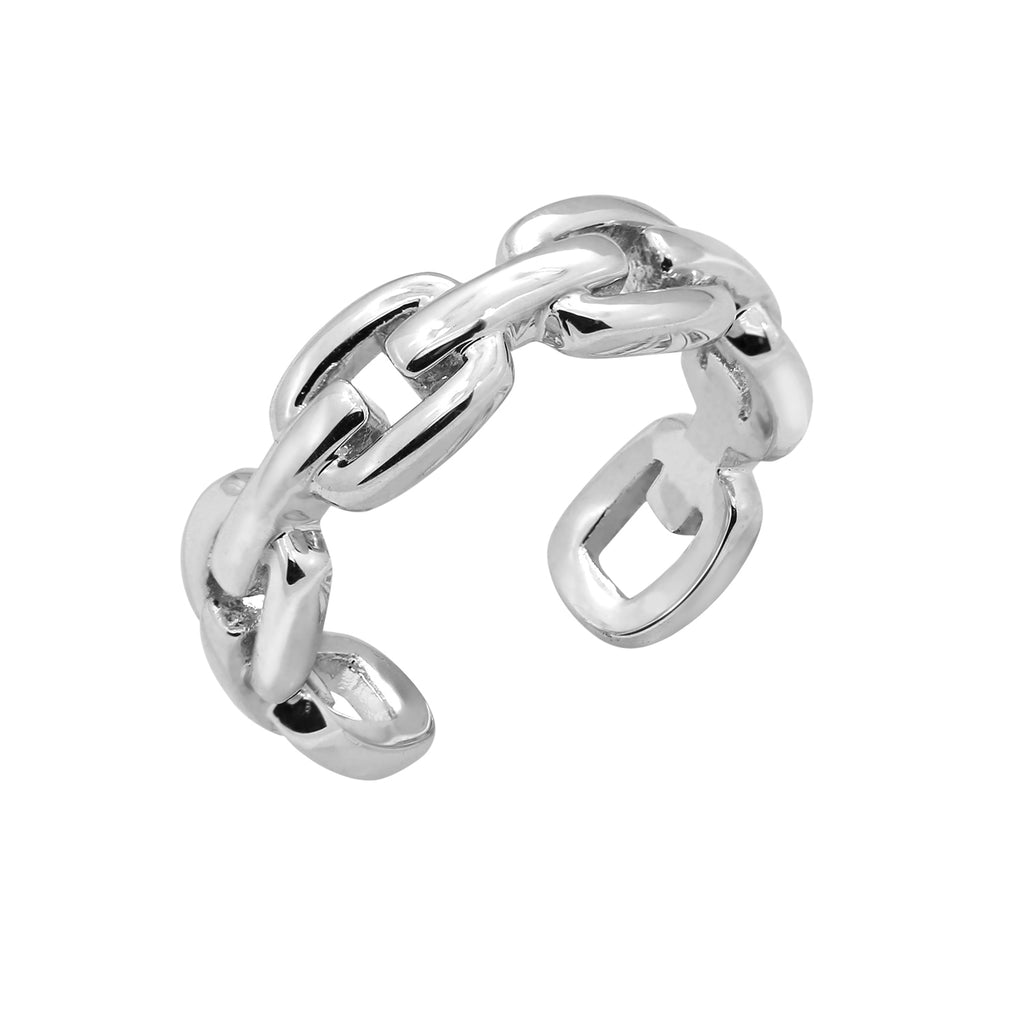 6TH AVE Link Collection - Open Link Silver or 14K Gold Plated Chain Ring - GEMOUR