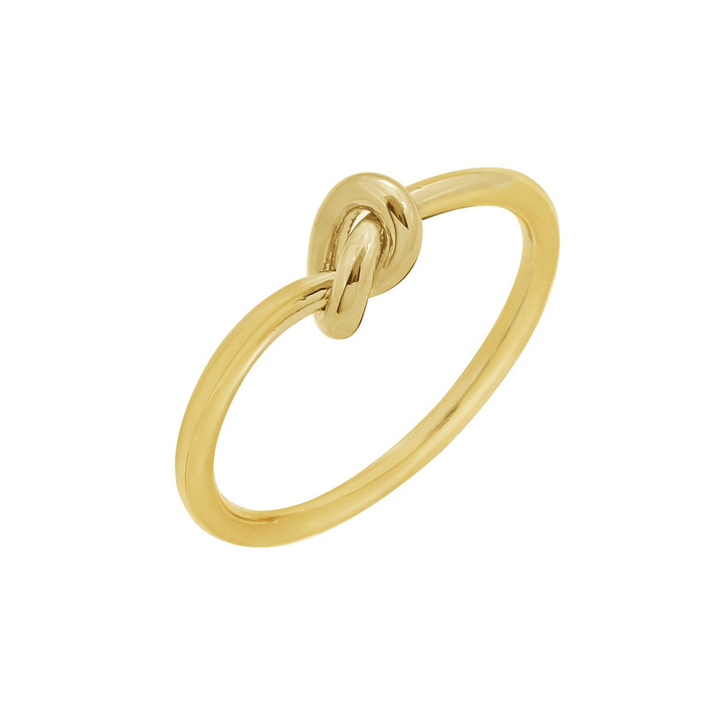 GLOW SOCIETY WIRE COLLECTION - Dainty 14K Gold Plated Love Knot Ring - GEMOUR
