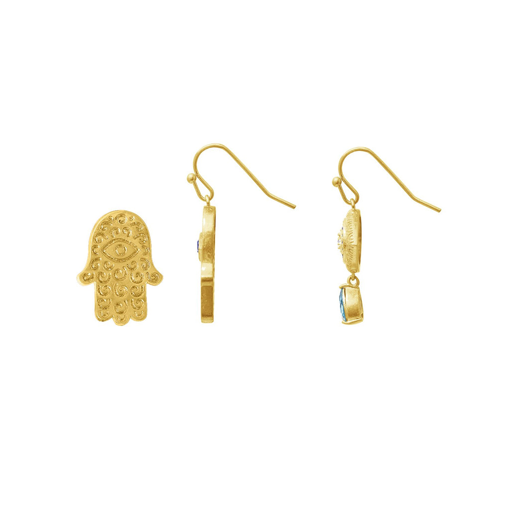 GLOW SOCIETY Evil Eye, Hamsa Collection - Crystal & Sapphire Hamsa & Evil Eyes Earrings - GEMOUR