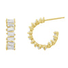 KIERA COUTURE Baguette Cut Yellow Gold Plated Sterling Silver Hoop Stud Earrings - GEMOUR