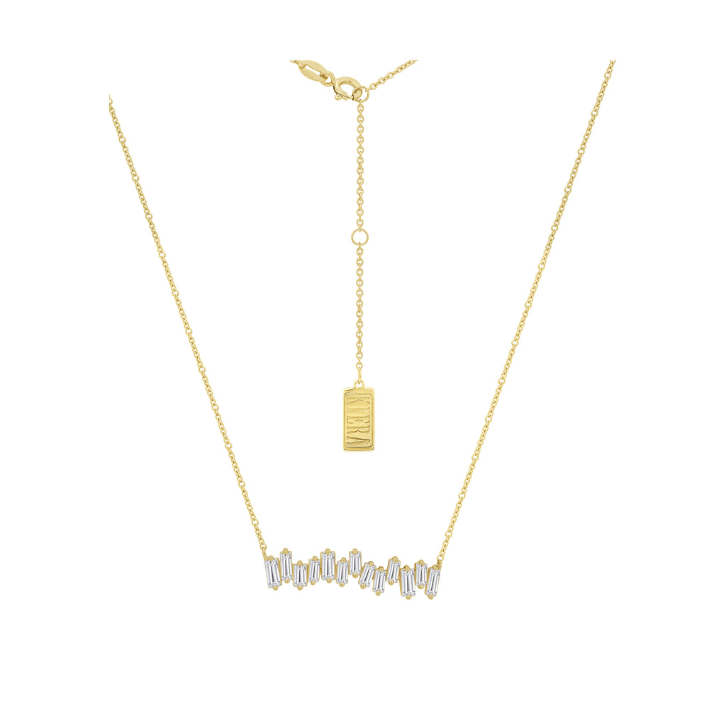 KIERA COUTURE Baguette Cut Yellow Gold Plated Sterling Silver Bar Pendant Necklace - GEMOUR