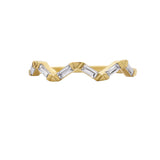 KIERA COUTURE RING BAR White Baguette Cut Yellow Gold Plated Sterling Silver Wavy Stackable Ring - GEMOUR