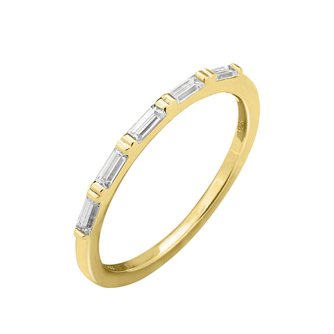 KIERA COUTURE RING BAR White Baguette Cut Yellow Gold Plated Sterling Silver Wavy Stackable Ring