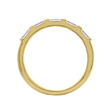 KIERA COUTURE RING BAR White Baguette Cut Yellow Gold Plated Sterling Silver 5-Stone Stackable Ring - GEMOUR