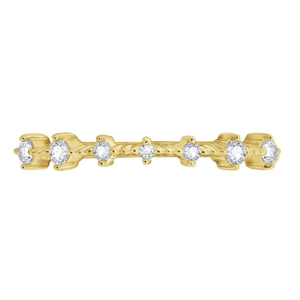 KIERA COUTURE RING BAR White Baguette Cut Yellow Gold Plated Sterling Silver 7-Stone Stackable Ring - GEMOUR