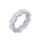 KIERA COUTURE Baguette Cut Sterling Silver Wavy Eternity Band Ring - GEMOUR