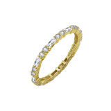 KIERA COUTURE RING BAR White Baguette Cut Yellow Gold Plated Sterling Silver Eternity Band Ring - GEMOUR