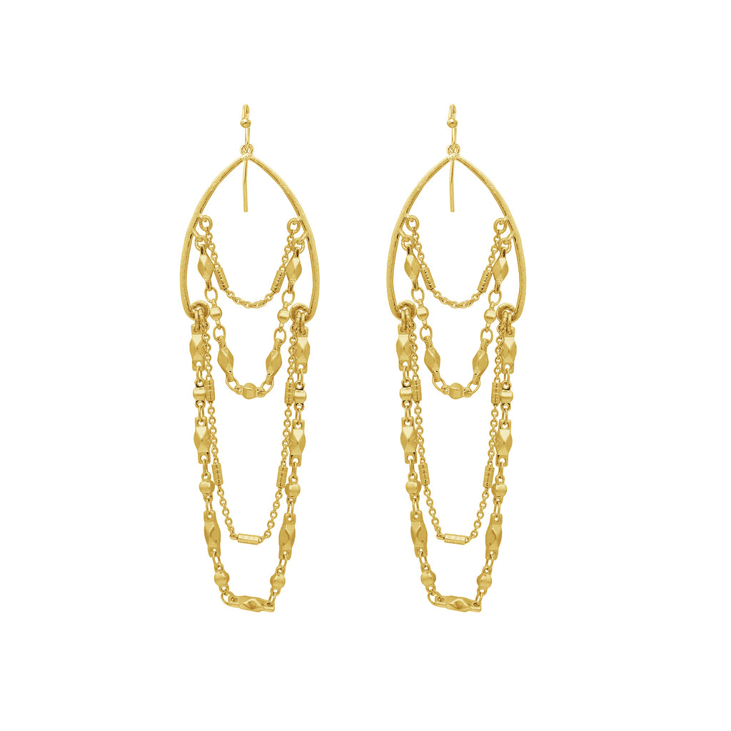 GLOW SOCIETY Chandelier Collection - Multiple Fringe Chain Dangle Earrings - GEMOUR
