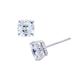 Kiera Couture 8mm clear asscher cut stud earrings - GEMOUR