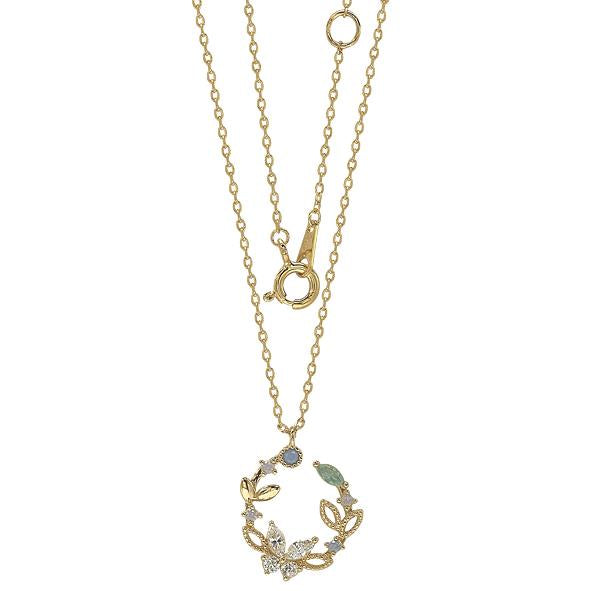 GEMOUR Yellow Gold Plated Sterling Silver Cubic Zirconia Flower Circle Pendant Necklace - GEMOUR