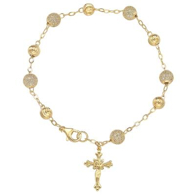 GEMOUR Yellow Gold Plated Sterling Silver Cubic Zirconia Alternating Ball Station Bracelet - GEMOUR