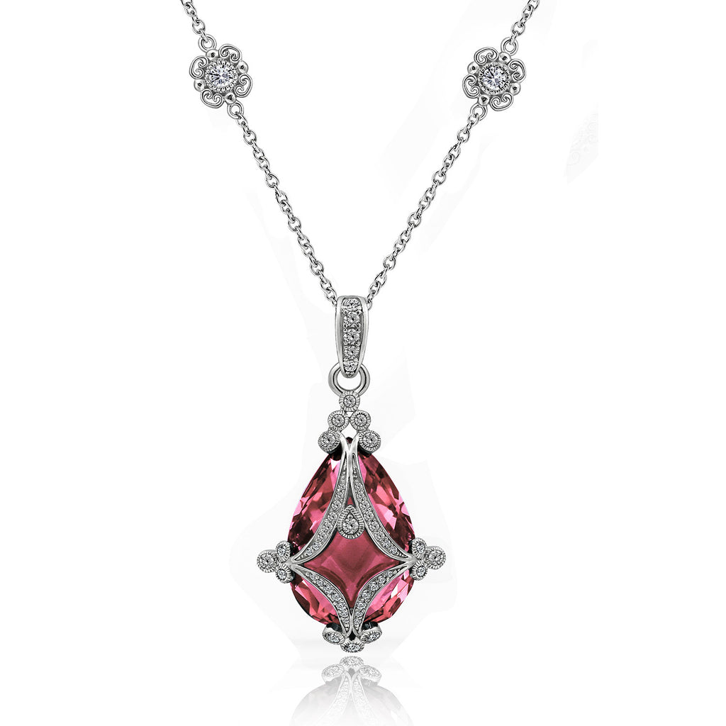 GEMOUR COLLECTION Simulated Tourmaline Teardrop Cage Necklace - GEMOUR