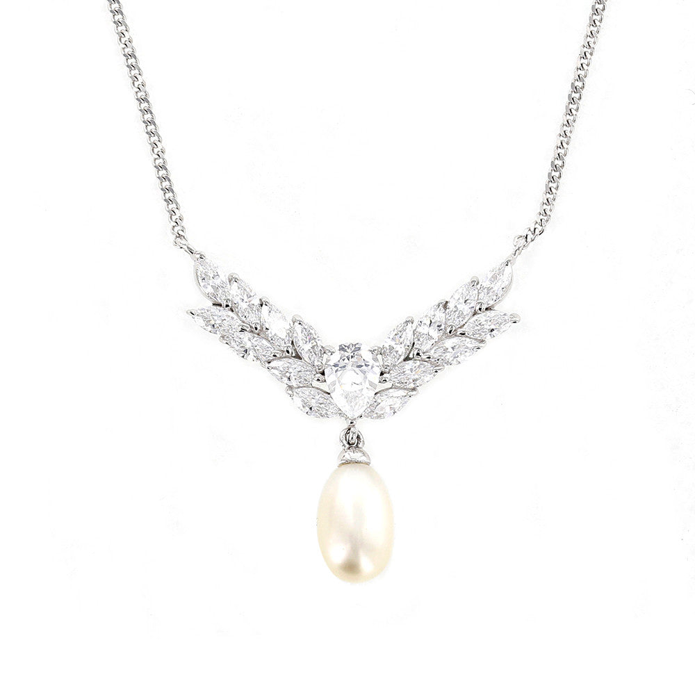 Marquise Freshwater Cultured Pearl Necklace - GEMOUR