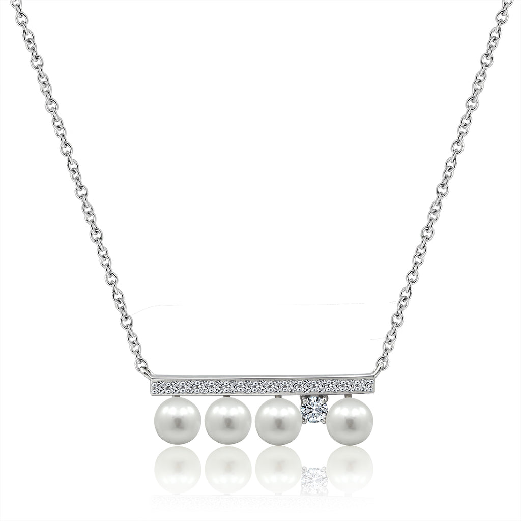 FOUR PEARLS AND A STONE BAR NECKLACE - GEMOUR