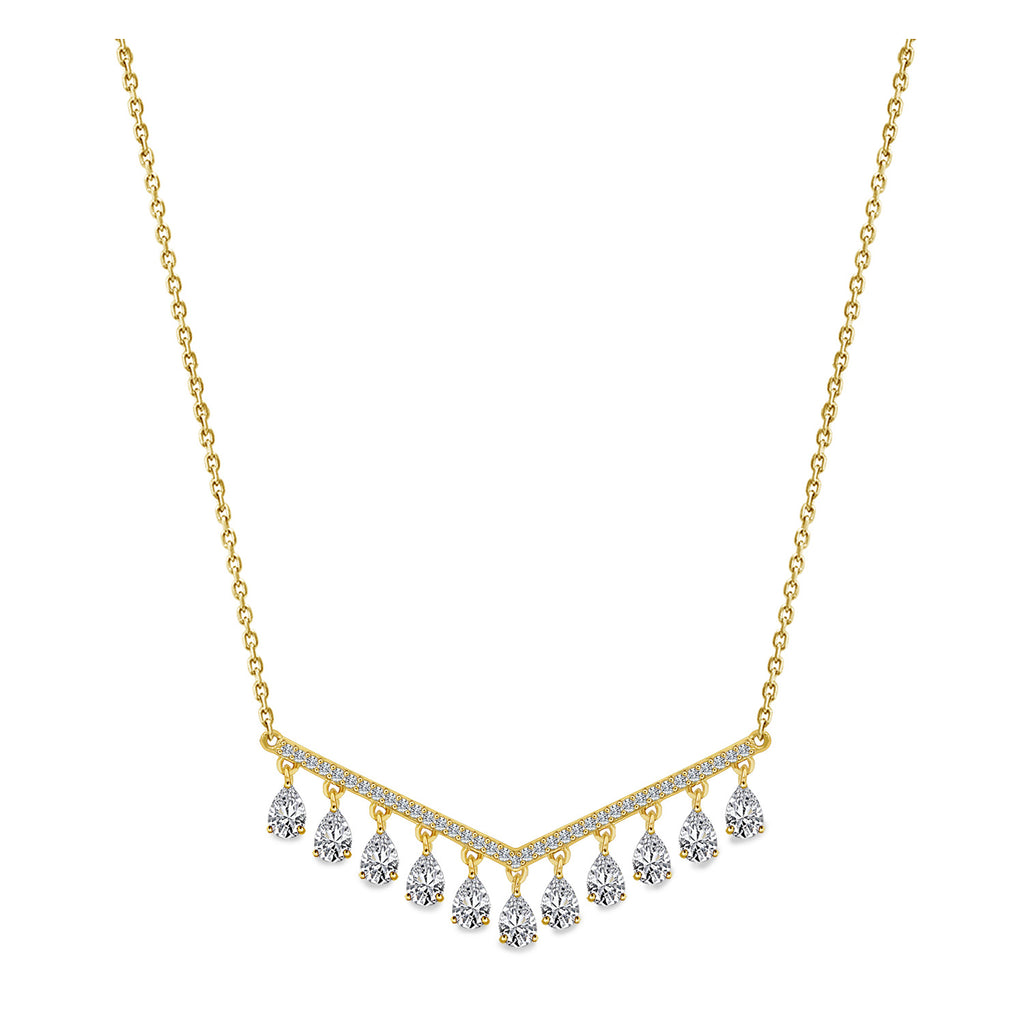 Kiera GOLD PLATED FRINGE DROP NECKLACE - GEMOUR