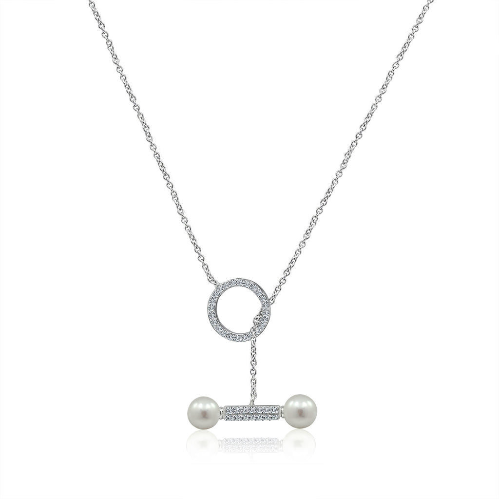 Kiera OPEN CIRCLE CZ PEARL BAR NECKLACE - GEMOUR