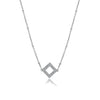 Couture Pave Open Square Pendant Necklace - GEMOUR