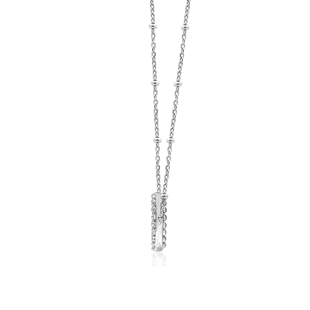 Couture Pave Open Pear Pendant Necklace - GEMOUR