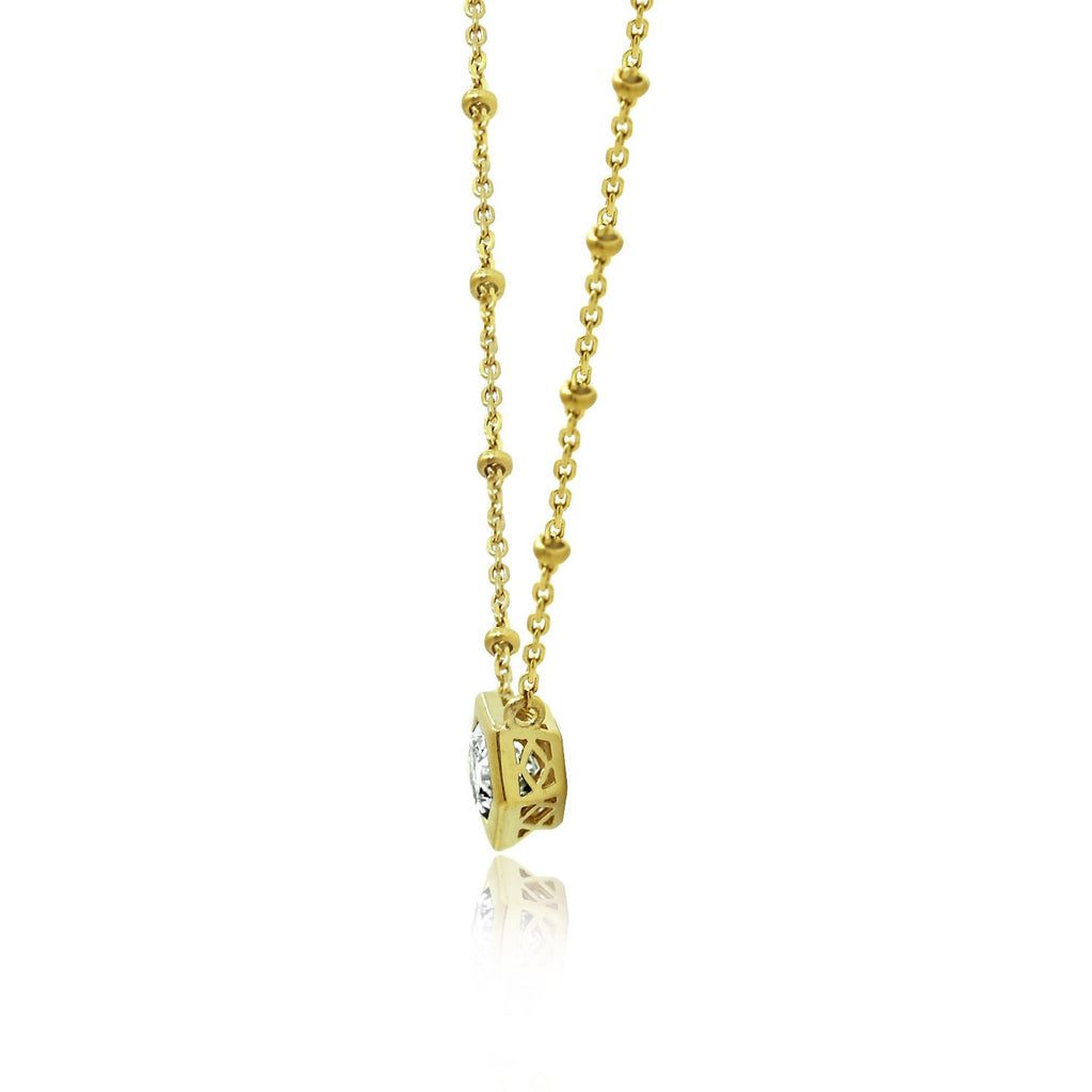 Couture Geometric Beaded Pendant Necklace - GEMOUR
