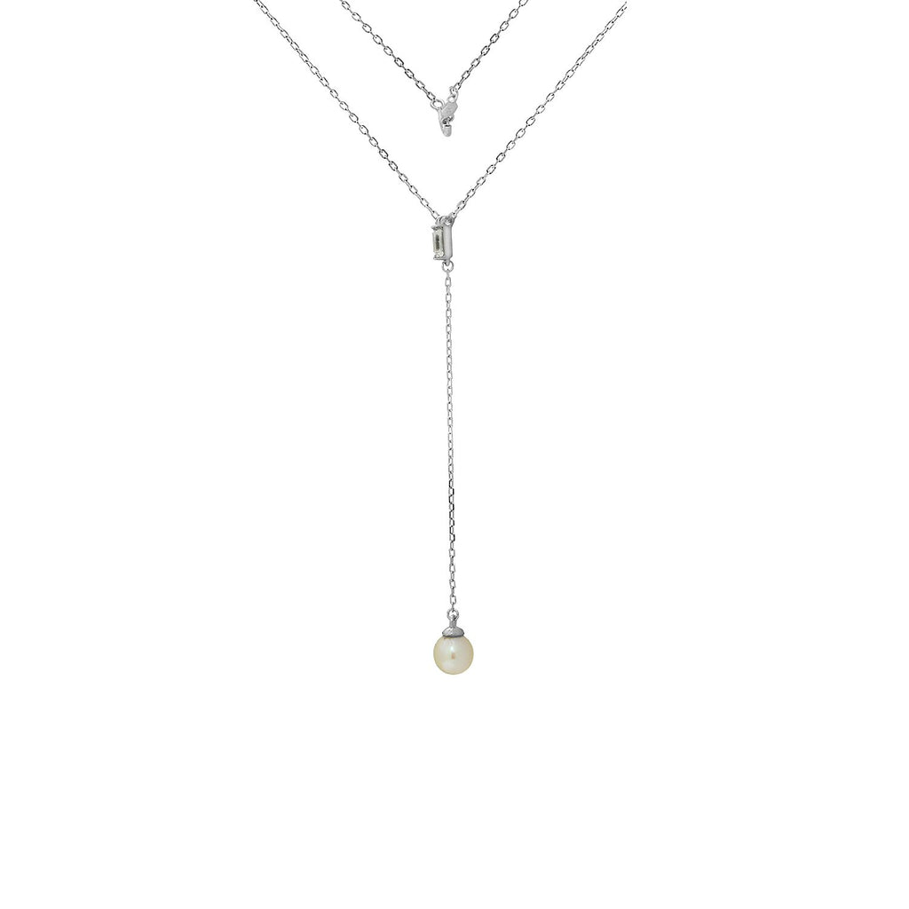 KIERA NEW YORK Freshwater Pearl Drop Cz Sterling Silver Y-Necklace - GEMOUR