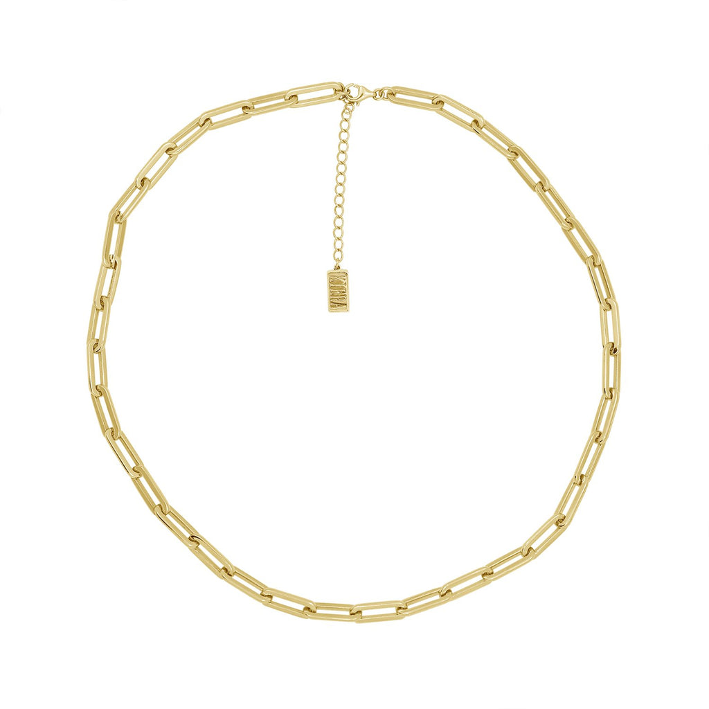 "KIERA 14K Yellow Gold Clad Sterling Silver Flat Oval Link Chain Necklace, 18"" + 2"" Extension"