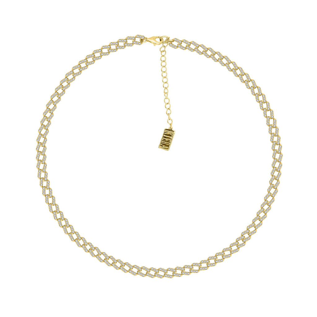 "KIERA 14K Yellow Gold Clad Sterling Silver 5.04 cttw Pave Cubic Zirconia Curb Link Chain Necklace, 16"" + 2"" Extension"