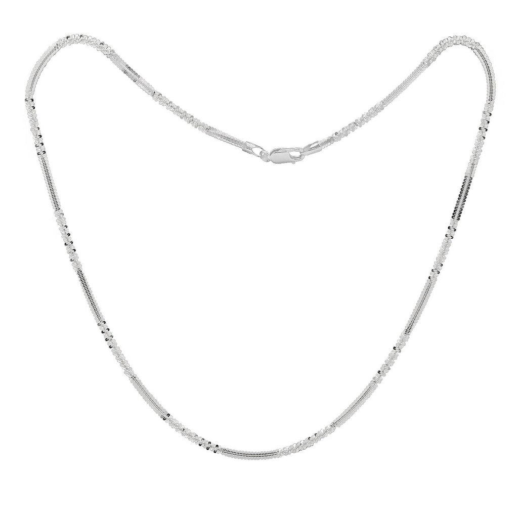 KIERA VENEZIA Sterling Silver Glitter Chain Necklace - GEMOUR