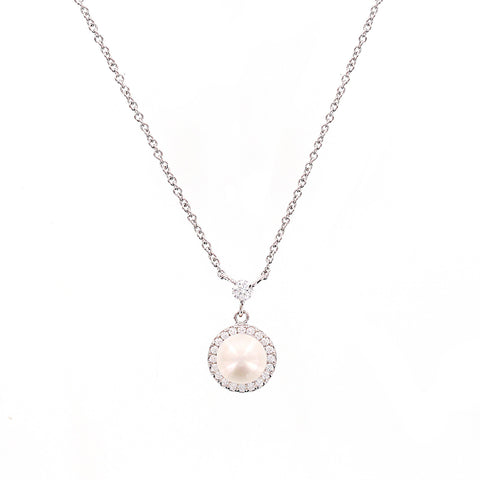 FOUR PEARLS AND A STONE BAR NECKLACE