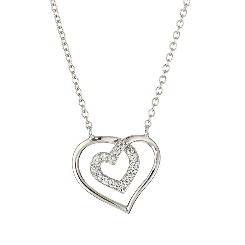 Swarovski Two Hearts Framed Pendant - GEMOUR