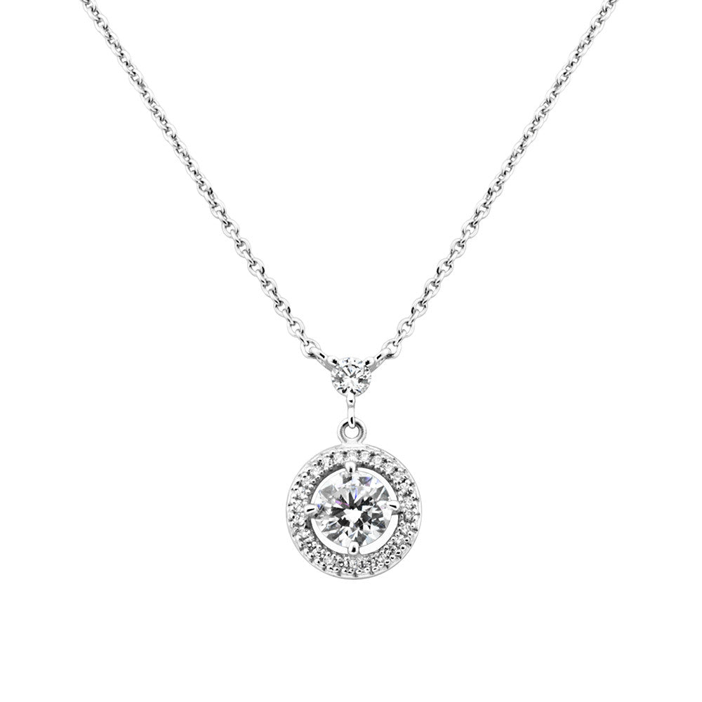 brilliant swarovski necklace and crystal solitaire rhodium set earrings