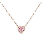 Swarovski Pink Heart Rose Plated Necklace - GEMOUR