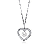 Swarovski CZ Heart Cut-Out Pearl Necklace - GEMOUR