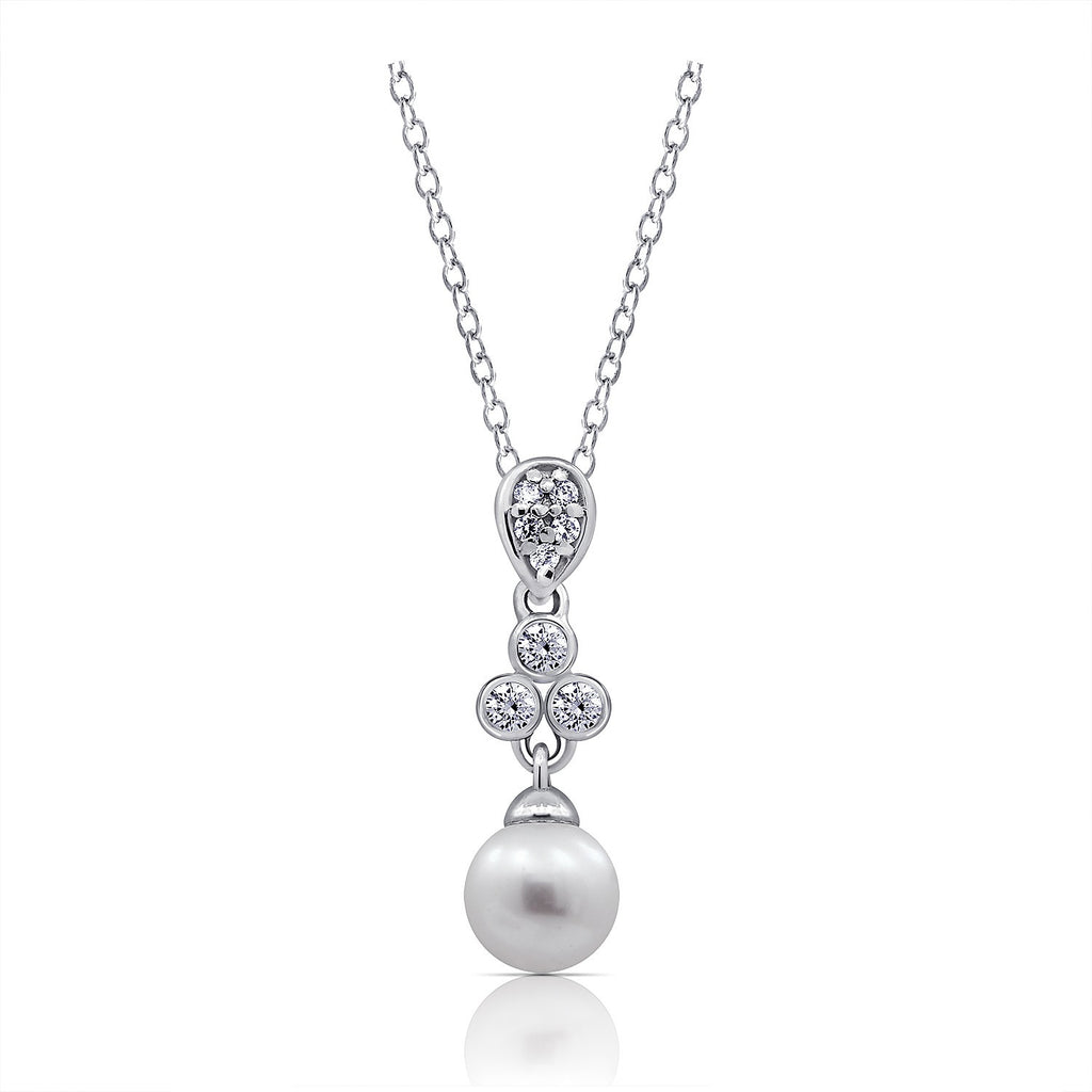 CZ Freshwater Cultured Pearl Bridal Pendant Necklace - GEMOUR