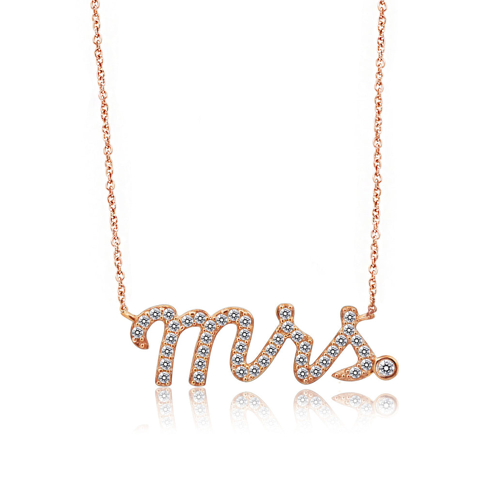 """Mrs."" Pave Rose Gold Nameplate Necklace - GEMOUR"