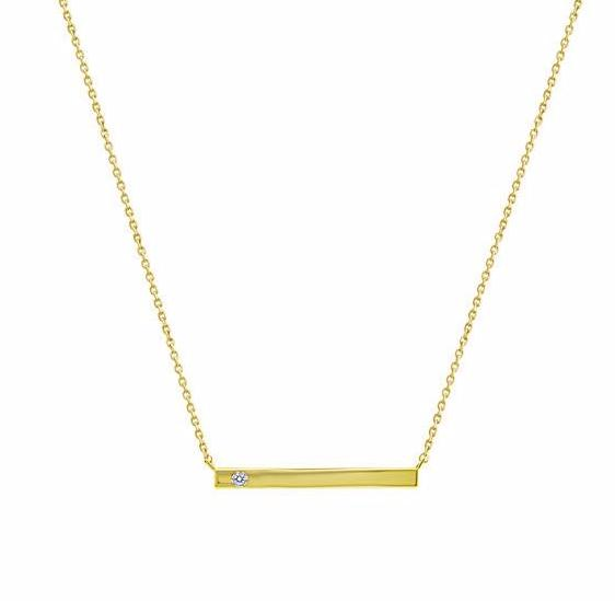 Kiera New York ID Bar Necklace with Cubic Zirconia Accent - GEMOUR