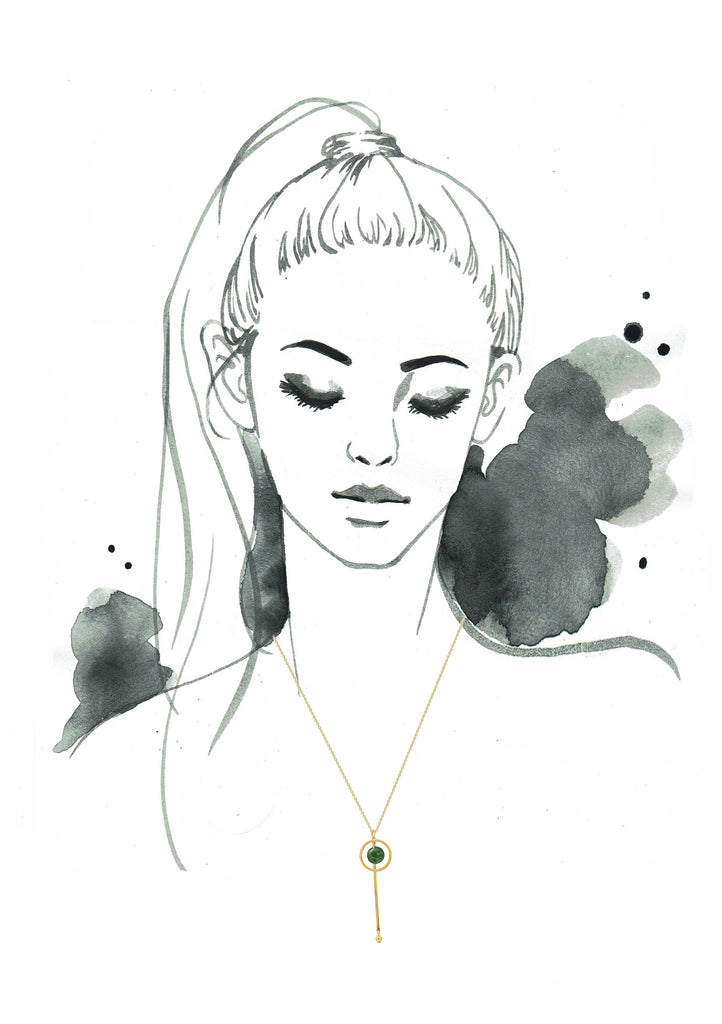 GLOW SOCIETY Bohemian Jive Collection - Jade Y Shaped Layer Necklace - GEMOUR