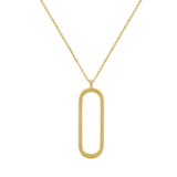 GLOW SOCIETY Curvilinear Forms Collection - Rope Textured Open Oval Pendant Necklace (30