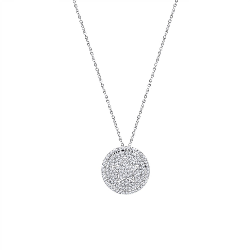 GEMOUR Sterling Silver Micro Pave Cubic Zirconia Star in Round Pendant Necklace - GEMOUR