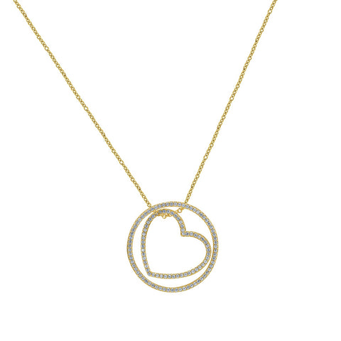 GEMOUR Gold Plated Sterling Silver Cubic Zirconia Moon with Star Pendant
