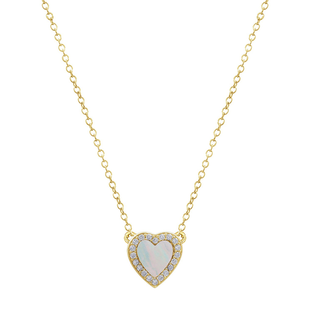 KIERA 14K Yellow Gold Clad Sterling Silver Vintage Halo Natural Gemstone Heart Pendant Necklace, 18""