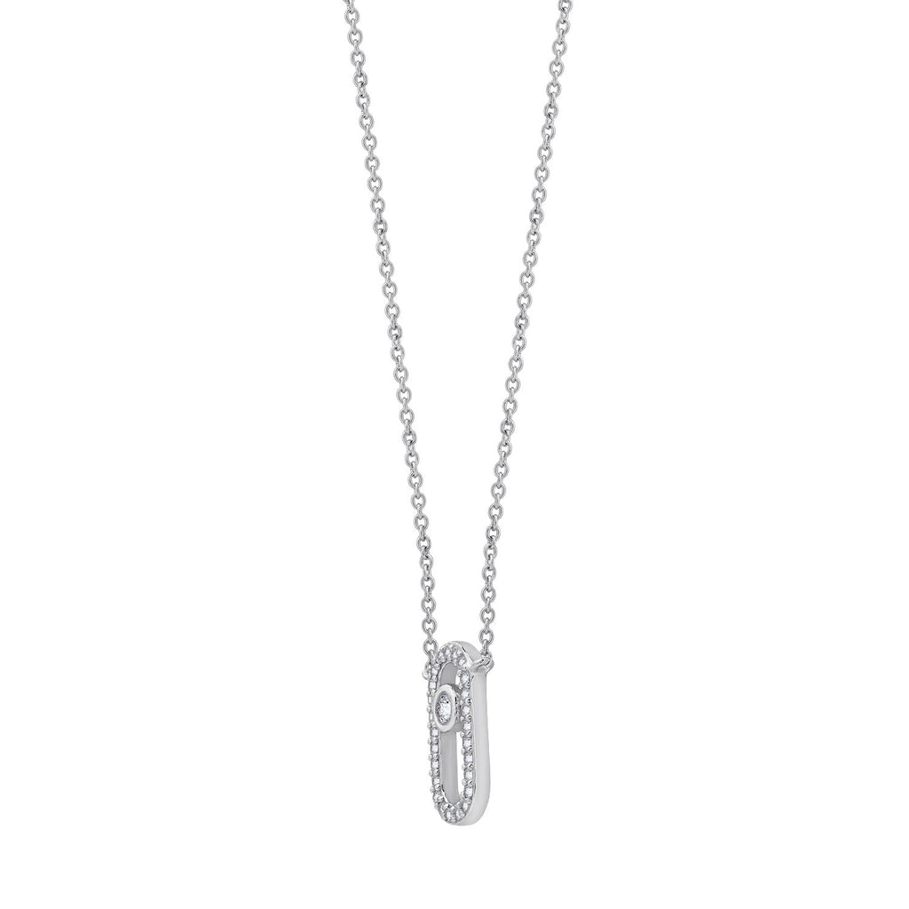 "KIERA Rhodium Clad Sterling Silver Cubic Zircornia Safety Pin Pendant Necklace, 18""+ 2"" Extension"