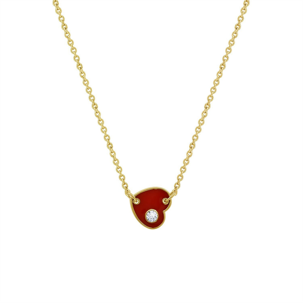J'ADMIRE 14K Yellow Gold Clad Sterling Silver Red Enamel Heart Pendant Necklace with Cubic Zirconia Accent, 18""