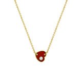 J'ADMIRE 14K Yellow Gold Clad Sterling Silver Red Enamel Heart Pendant Necklace with Cubic Zirconia Accent, 18