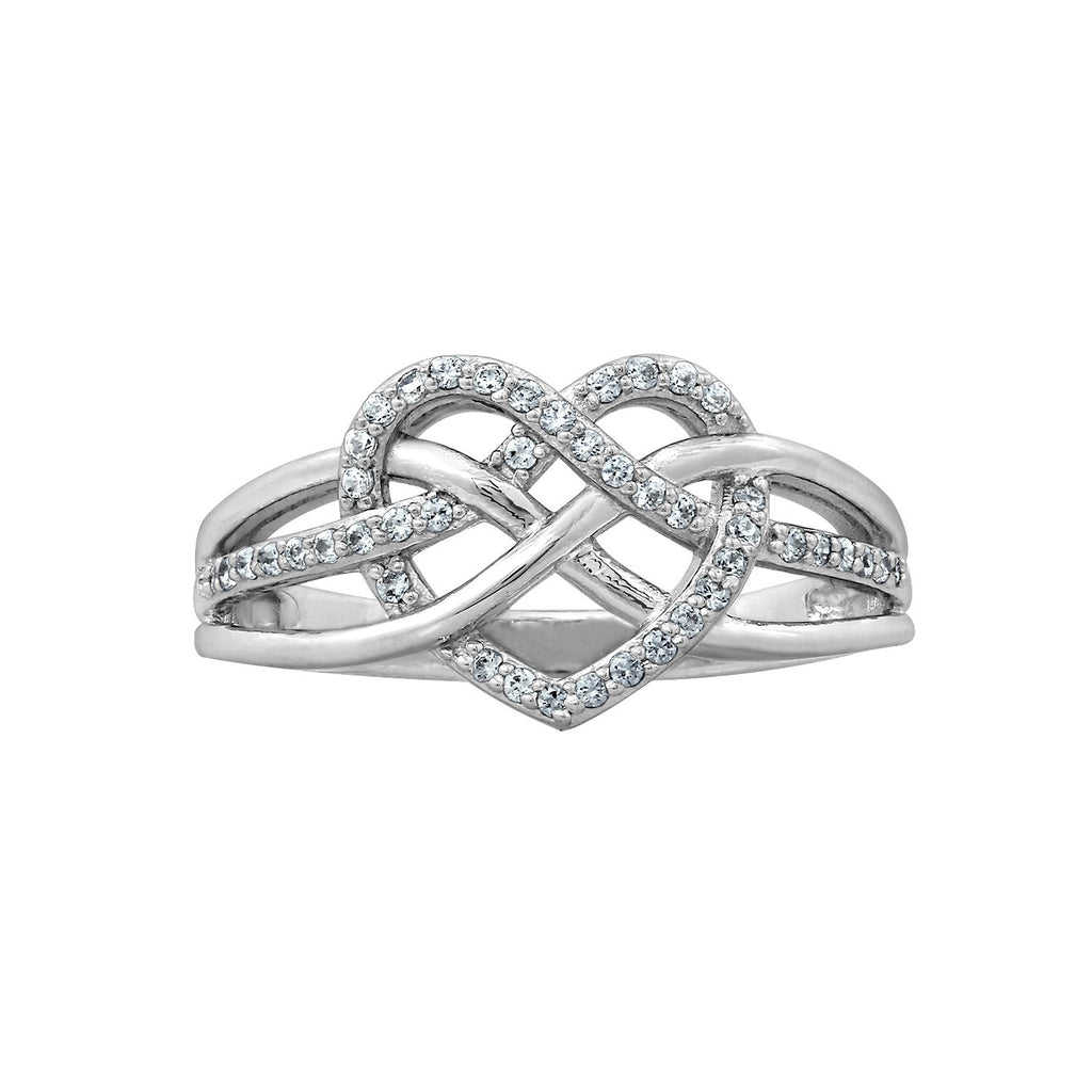 J'ADMIRE Platinum Plated Sterling Silver whimsical Heart Braid Ring - GEMOUR