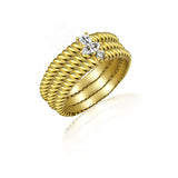 Kiera New York Mixed-Cut Stone Rope Set of 3 Stackable Rings - GEMOUR
