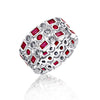 Kiera Couture Ruby Radiance Round & Baguette Mix Ring Set - GEMOUR