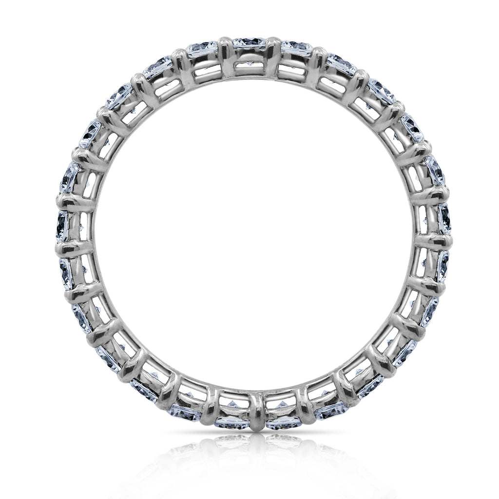 Kiera New York Classic Round Cut Thin Eternity Band Stacking Ring - GEMOUR