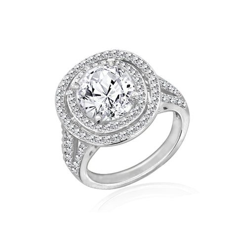 Halo Pear CZ Engagement Ring
